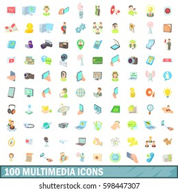 100 multimedia icons set in cartoon style for any design  illustration