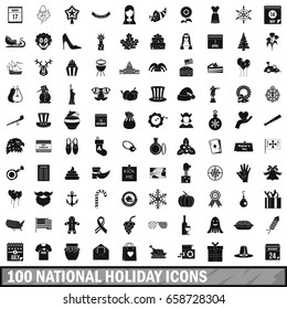 100 national holiday icons set in simple style for any design  illustration