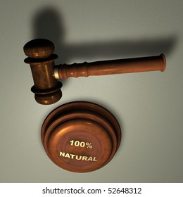 100% NATURAL - Judge's Wooden Gavel, close up over white