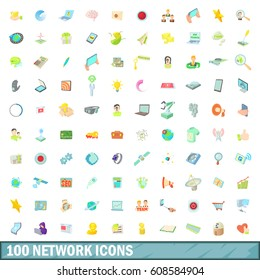 100 network icons set in cartoon style for any design  illustration