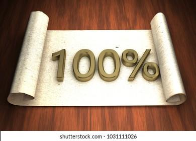100 per cent, golden numbers, over open paper, 3d rendering