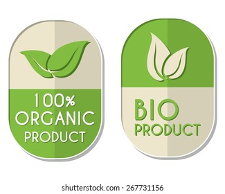 100 percent organic and bio product with leaf signs banners, two elliptic flat design labels with text and symbol, business eco concept