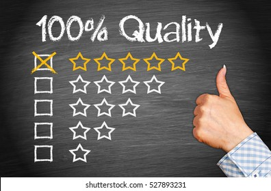 100 Percent Quality with thumb up on chalkboard background and five stars