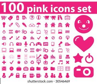 100 pink icons set. raster version