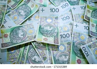 100 Polish Zloty Bills Pile. Republic of Poland Currency.