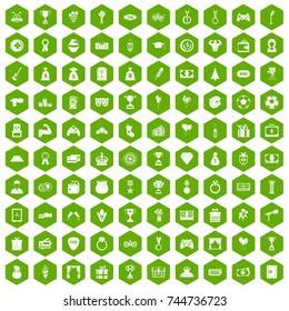 100 premium icons set in green hexagon isolated  illustration