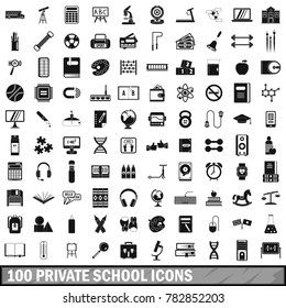 100 private school icons set in simple style for any design  illustration