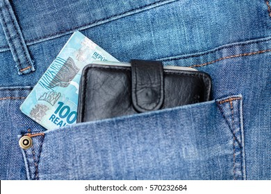 100 Reais on the jeans (Brazilian Money)