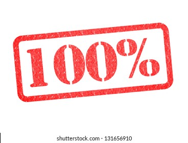 100% red rubber stamp over a white background.