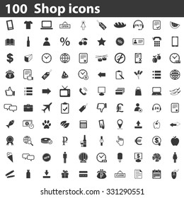 100 Shop icons set, simple black images on white background