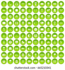 100 stadium icons set green circle isolated on white background  illustration