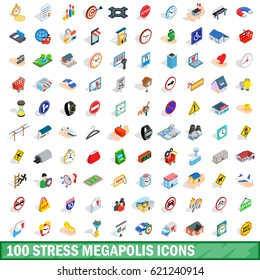 100 stress megapolis icons set in isometric 3d style for any design  illustration