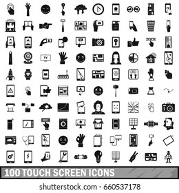 100 touch screen icons set in simple style for any design  illustration