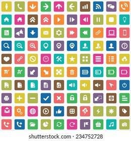 100 UI Icons For Web and Mobile big universal set