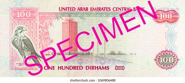 100 united arab emirates dirham bank note full frame reverse