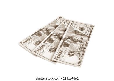 100 United States dollar bills in retro sepia effect