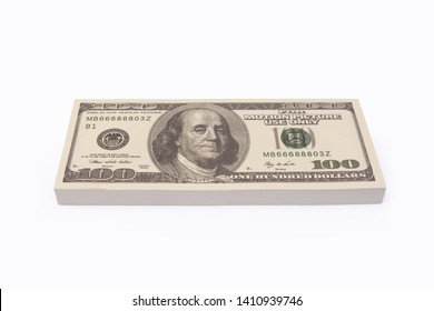 100 US Dollar bills bundles stack isolated on white background with clipping path
