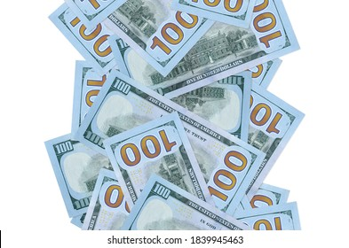 100 US dollars bills flying down isolated on white. Many banknotes falling with white copyspace on left and right side