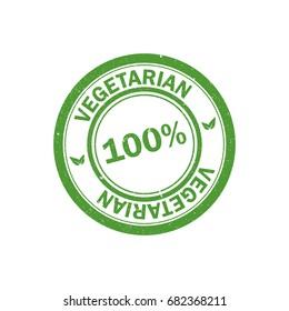 100% vegetarian stamp. Vegan logo. Green food watermark. Icon