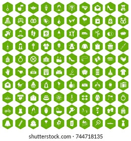 100 woman happy icons set in green hexagon isolated  illustration