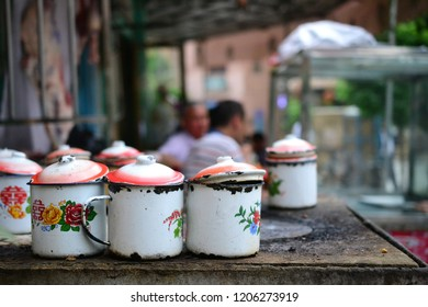 100 year old Uyghur tea house in old city of Kashgar, Xinjiang, China, Uyghur autonomous region