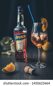 100 years of aperitiv Aperol and traditional italian coctail  Spritz  of North Italy and Venice on the wooden table 06.07.19.