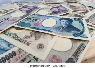 1000 5000 and 10000 Spread of japanese currency notes background , Japanese Yen
