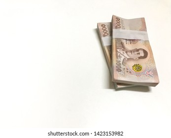 1000 baht banknotes isolated on white background, thai cash, stack of banknote