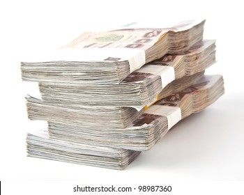 1000 baht banknotes isolated on white background.