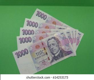 1000 Czech Koruna banknotes money (CZK), currency of Czech Republic - series of five mint notes