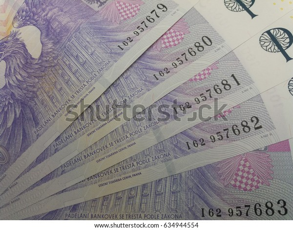 1000 Czech Koruna banknotes money (CZK), currency of Czech Republic - series of five mint notes with progressive serial number