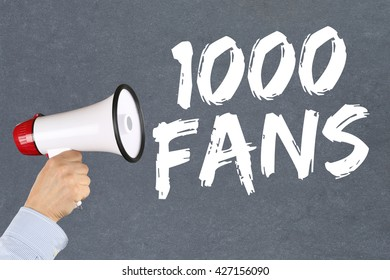 1000 fans likes social networking media hand with megaphone