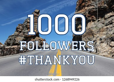 1000 followers sign - social media milestone banner. Online community thank you note. 1k likes.