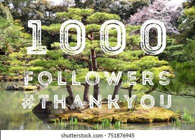 1000 followers - social media celebration banner. 1k online community fans.