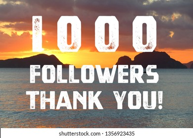 1000 followers thank you banner - social media milestone sign. 1k likes.