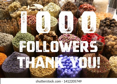 1000 followers thank you sign - social media milestone banner. 1k likes.