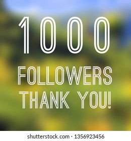 1000 followers thank you square banner - social media milestone sign. 1k likes.