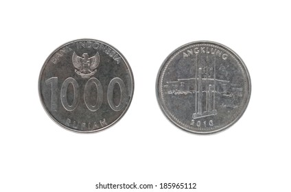 1000 Indonesian rupiah coin isolated on white background