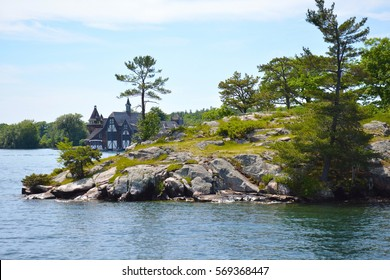 1000 Islands, Thousand Islands - House near  Boldt Castle on Heart Island, New York State. Unfiltered, natural lighting. Tourist routs. St. Lawrence River, USA-Canada border.
