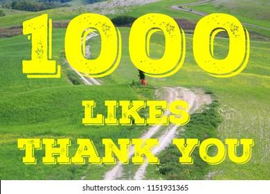 1000 likes - thank you banner. Social media milestone sign. 1k follows.