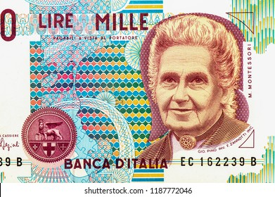 1000 Lire Banknote with depicted Maria Montessori, educator, pedagogist, philosopher and doctor on bank note. Italy Lire is the national currency of Italy, Close Up UNC Uncirculated - Collection.