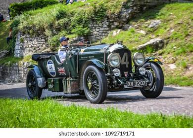 1000 Miglia 2018, Castello di Brescia, Brescia - Italy. May 16, 2018. Fantastic Bentley 4,5 LITRE OPEN TOURER, number 46 year 1928