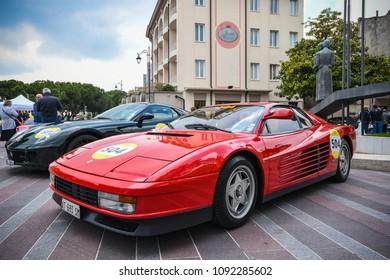 1000 Miglia 2018, Ferrari Tribute. Desenzano del Garda, Brescia - Italy. May 16, 2018. Fantastic red Ferrari Testarossa 1985 number 504.  Driver: Marco Stefanini, Nadia Stefanini.