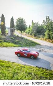 1000 Miglia 2018, Valeggio sul Mincio - Ponte Visconteo, Verona - Italy. May 16, 2018.  Fantastic Abarth Fiat 750 Zagato, number 459 year 1957