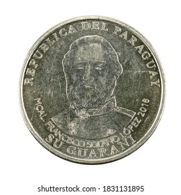 1000 Paraguayan guaraní coin (2018) reverse isolated on white background