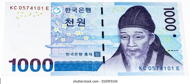 1000  South Korea won bank note. Won is the national currency of the South Korea