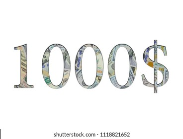 $ 1000. Us dollar banknotes. The texture of the money. Isolated on white background