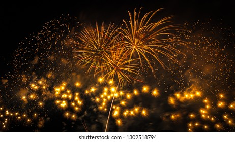 10,000 fireworks launched into the air in Shiga Prefecture, Japan, during the Lake Biwa Great Fireworks Festival takes place where a 1-hour of stunning display of light every summer at Otsu City.