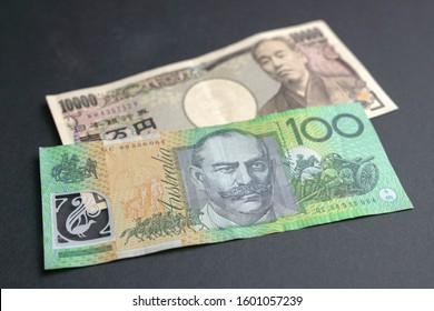 10000 Japanese Yen and 100 Australia Dollar