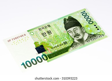 10000  South Korea won bank note. Won is the national currency of the South Korea